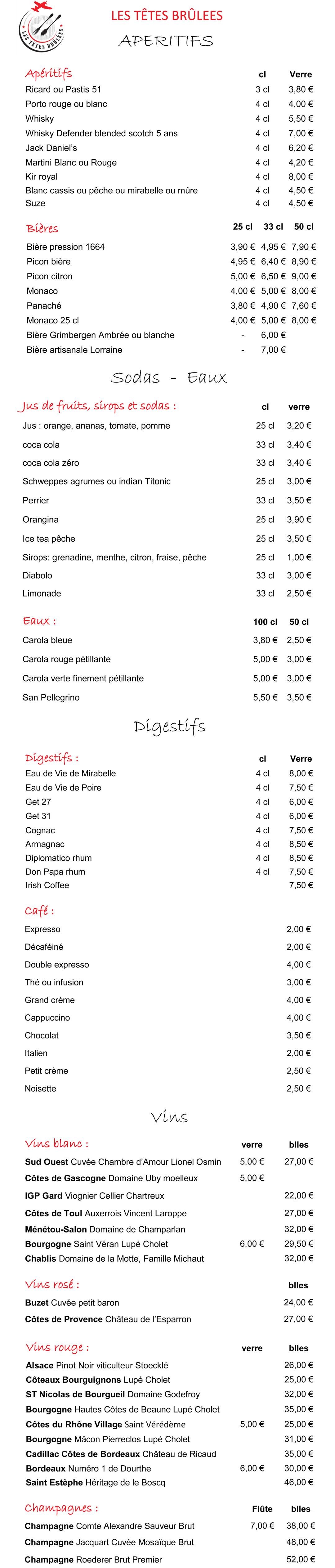 carte des boissons Restaurant Les Têtes Brûlées